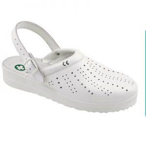 Bijele rupičaste natikače SARA | Kožne s podstavljenim obrubom | Protuuljne i protuklizne | Antistatski potplat - Radna Obuća - Radne Cipele - Radna Odjeća